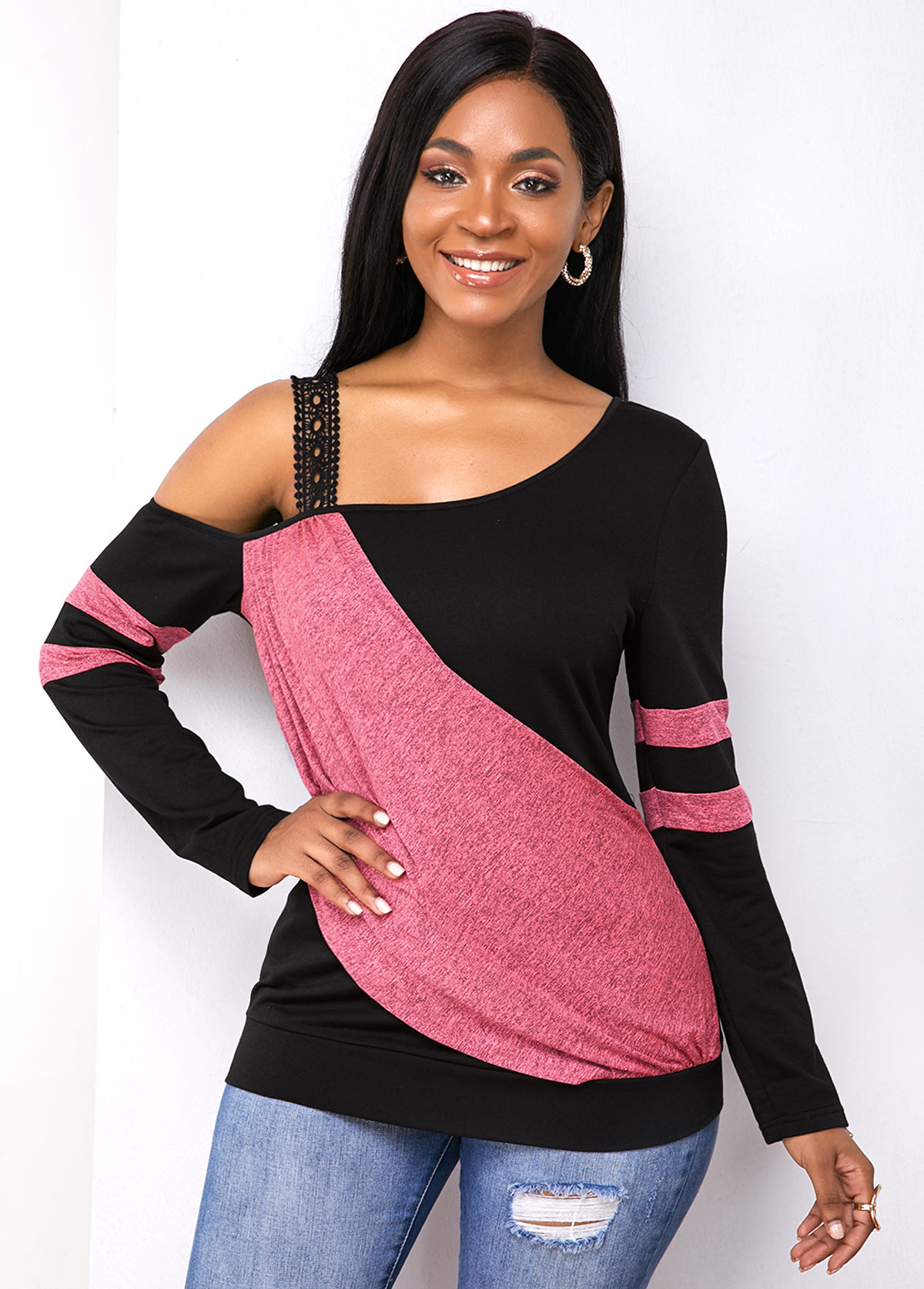 Contrast Cold Shoulder Long Sleeve Sweatshirt