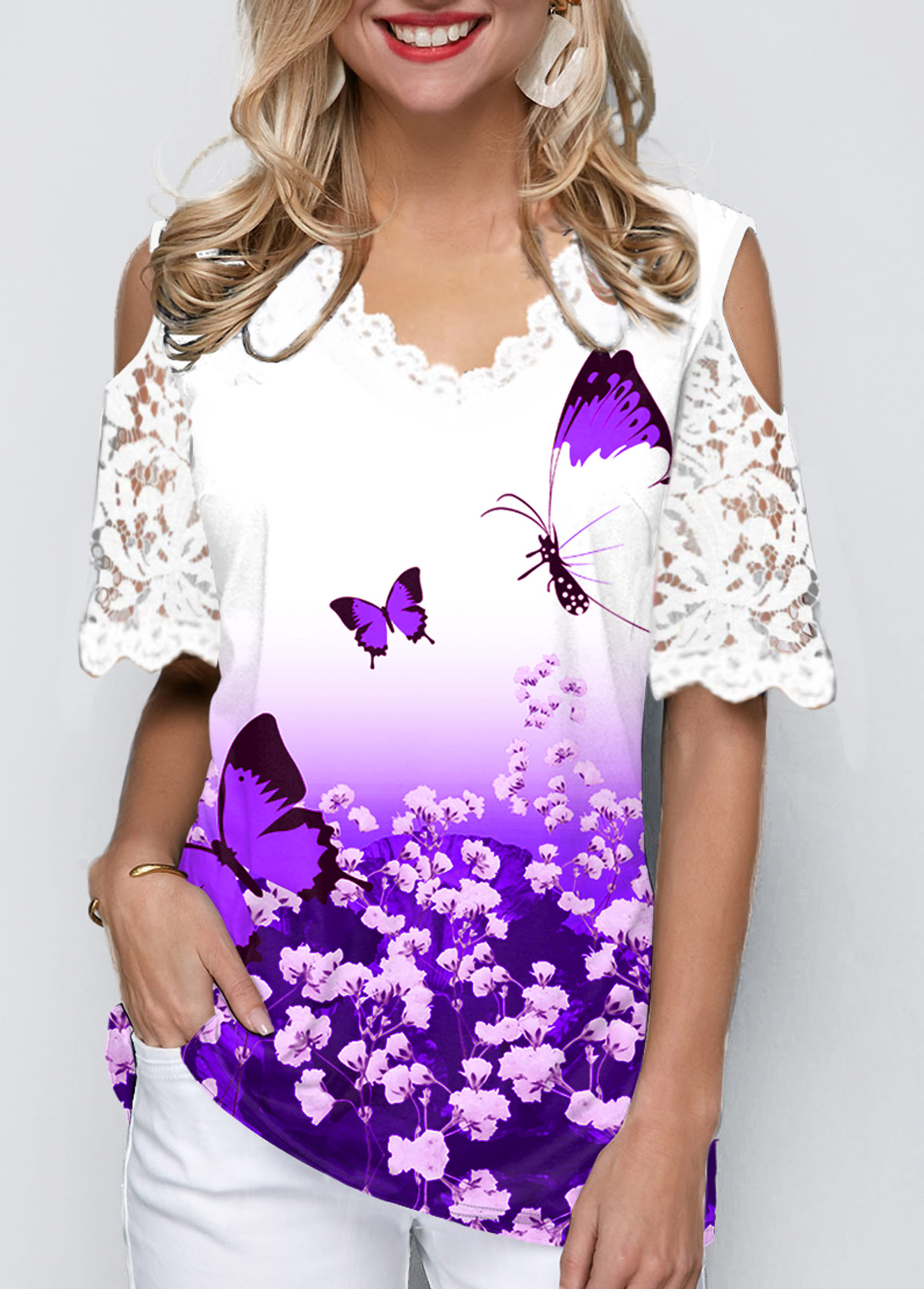 Cold Shoulder Lace Panel Ombre Butterfly Print T Shirt