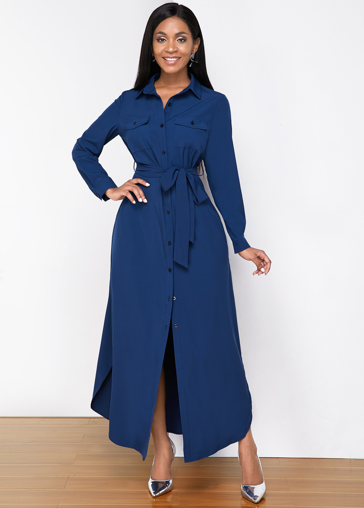 Button Up Turndown Collar Belted Shirt Dress