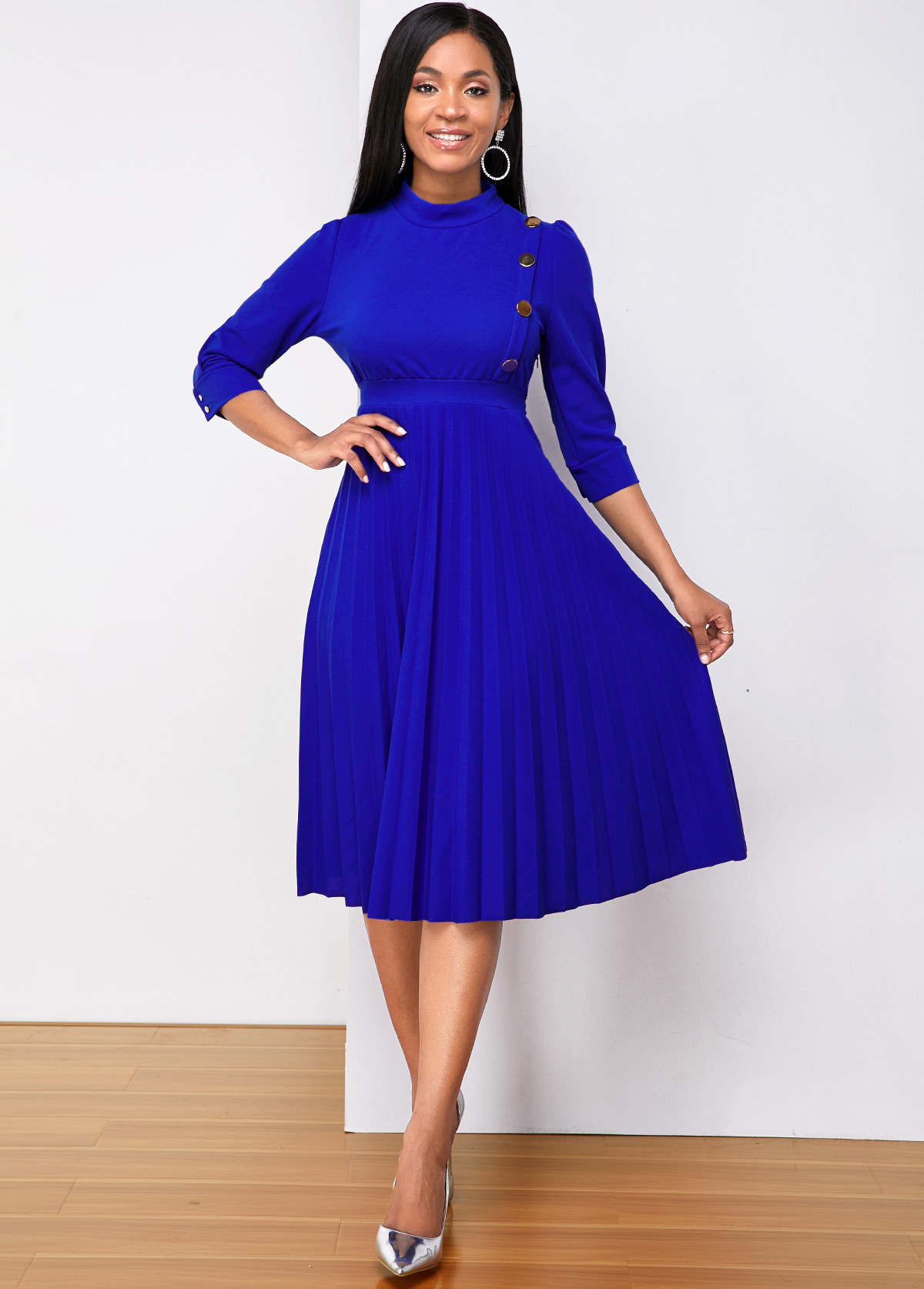 Metal Button Pleated Three Quarter Sleeve Dress