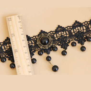 Pearl Detail Lace Panel Halloween Black Necklace