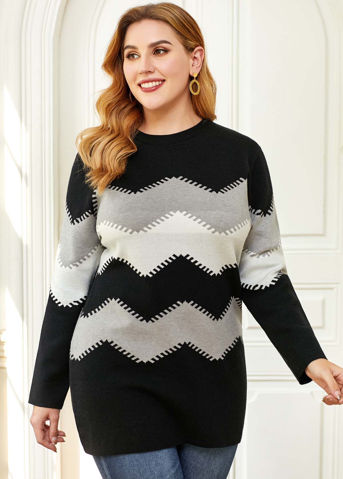 Chevron Pattern Long Sleeve Plus Size Sweater