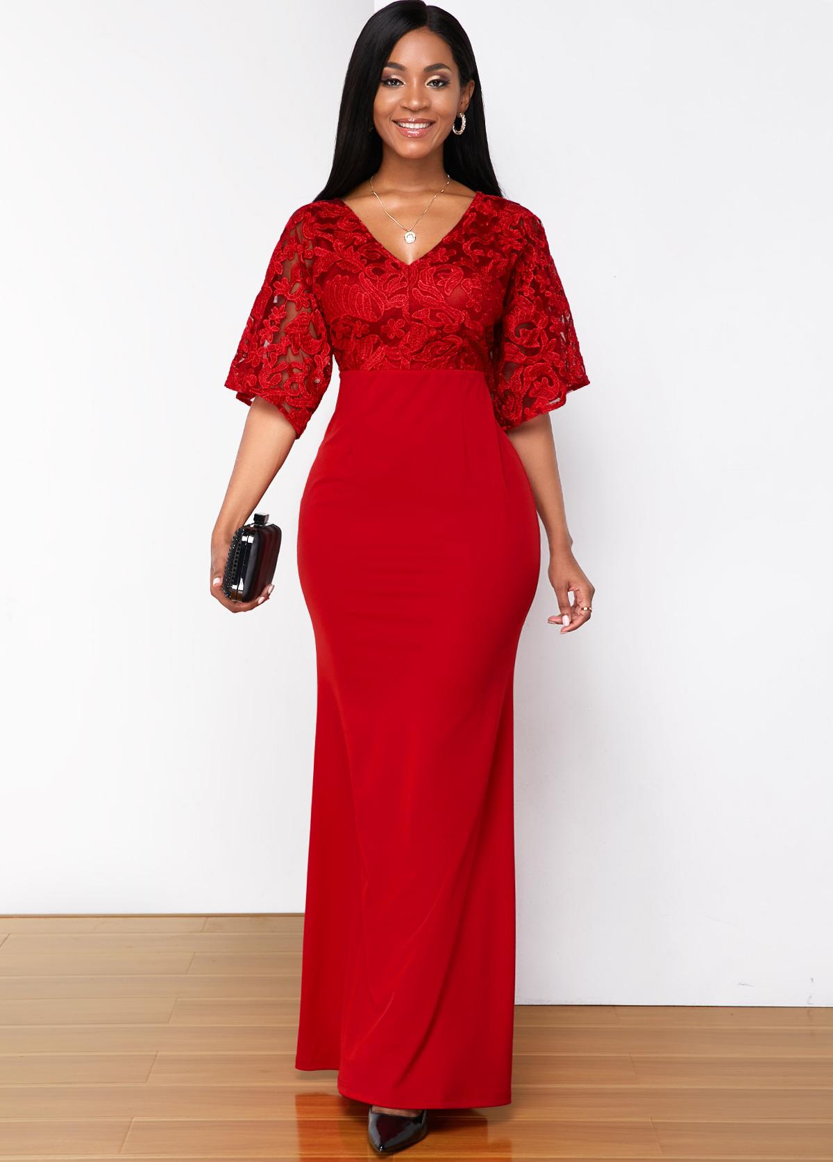 V Neck Lace Stitching Butterfly Sleeve Maxi Dress