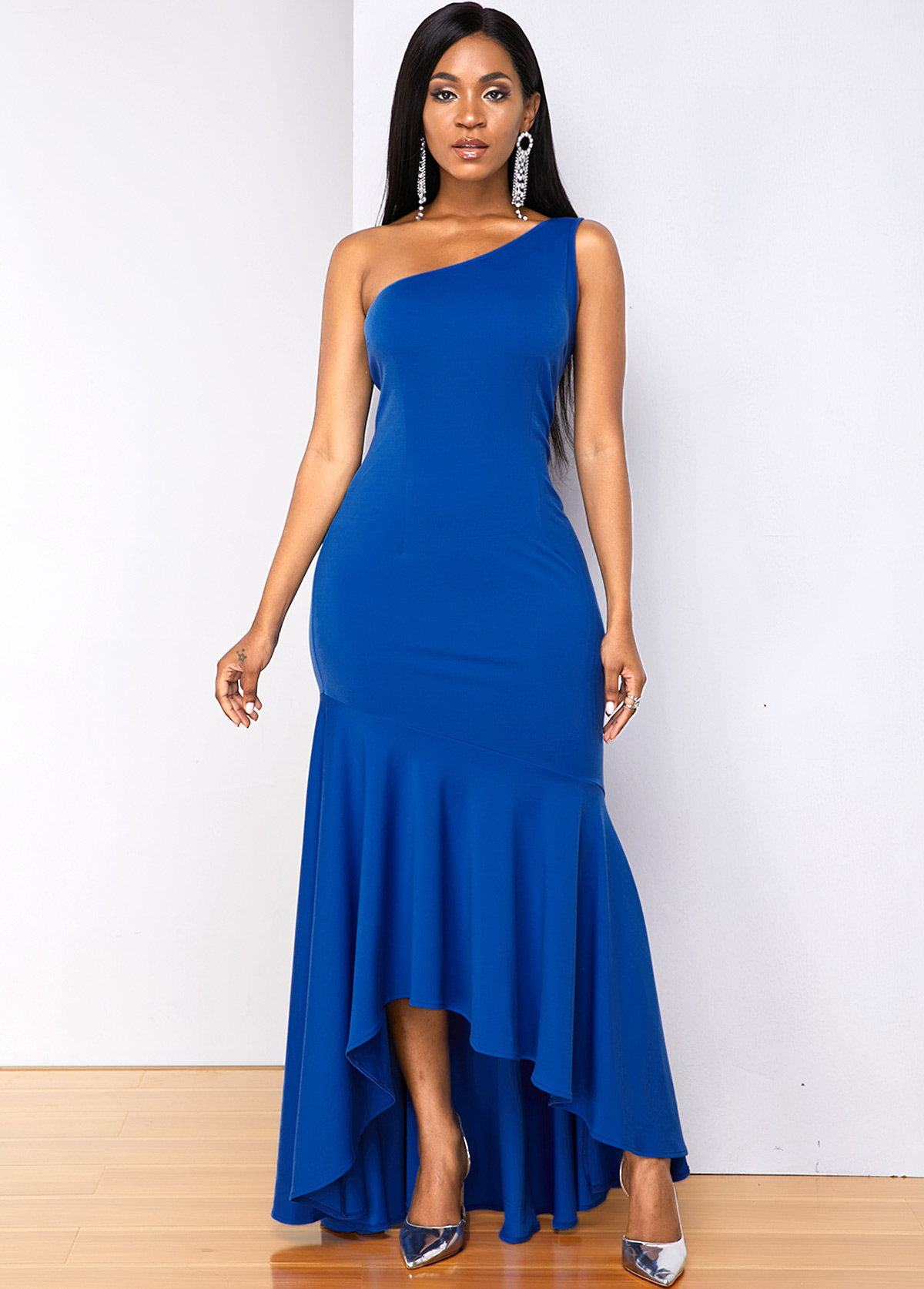 Sleeveless One Shoulder Mermaid Hem Dress