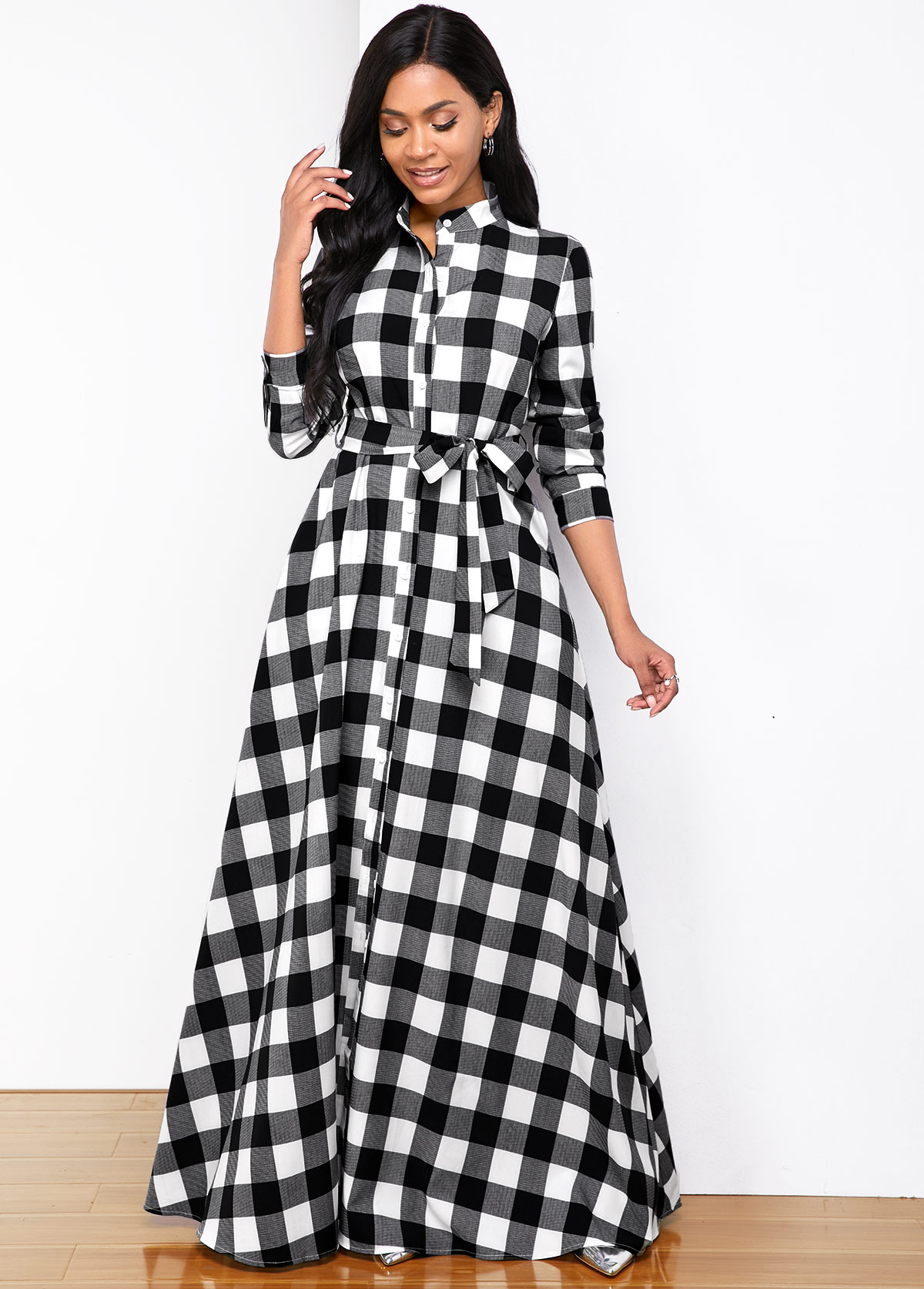 Stand Collar Plaid Print Long Sleeve Shirt Dress