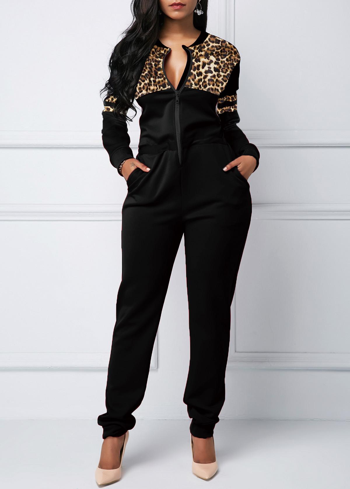 Zipper Closure Leopard Print Pocket Jumpsuit