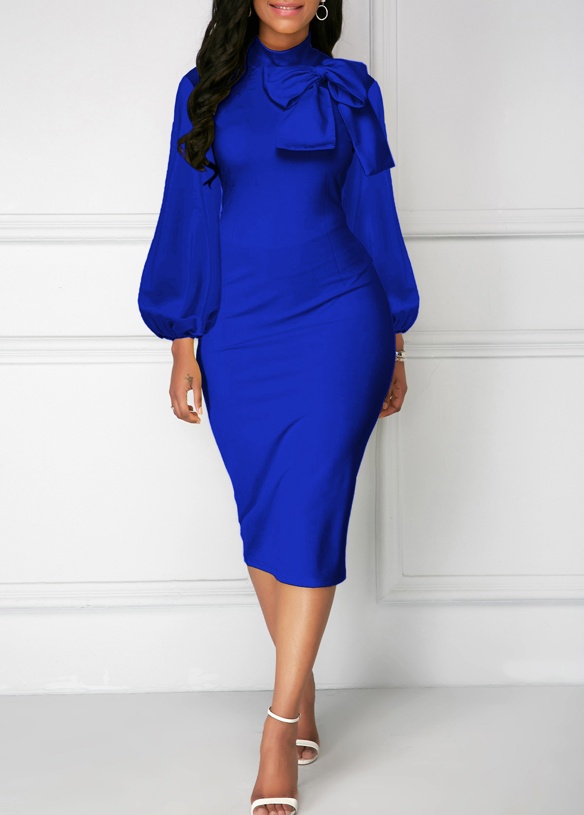 Bowknot Neck Royal Blue Lantern Sleeve Sheath Dress