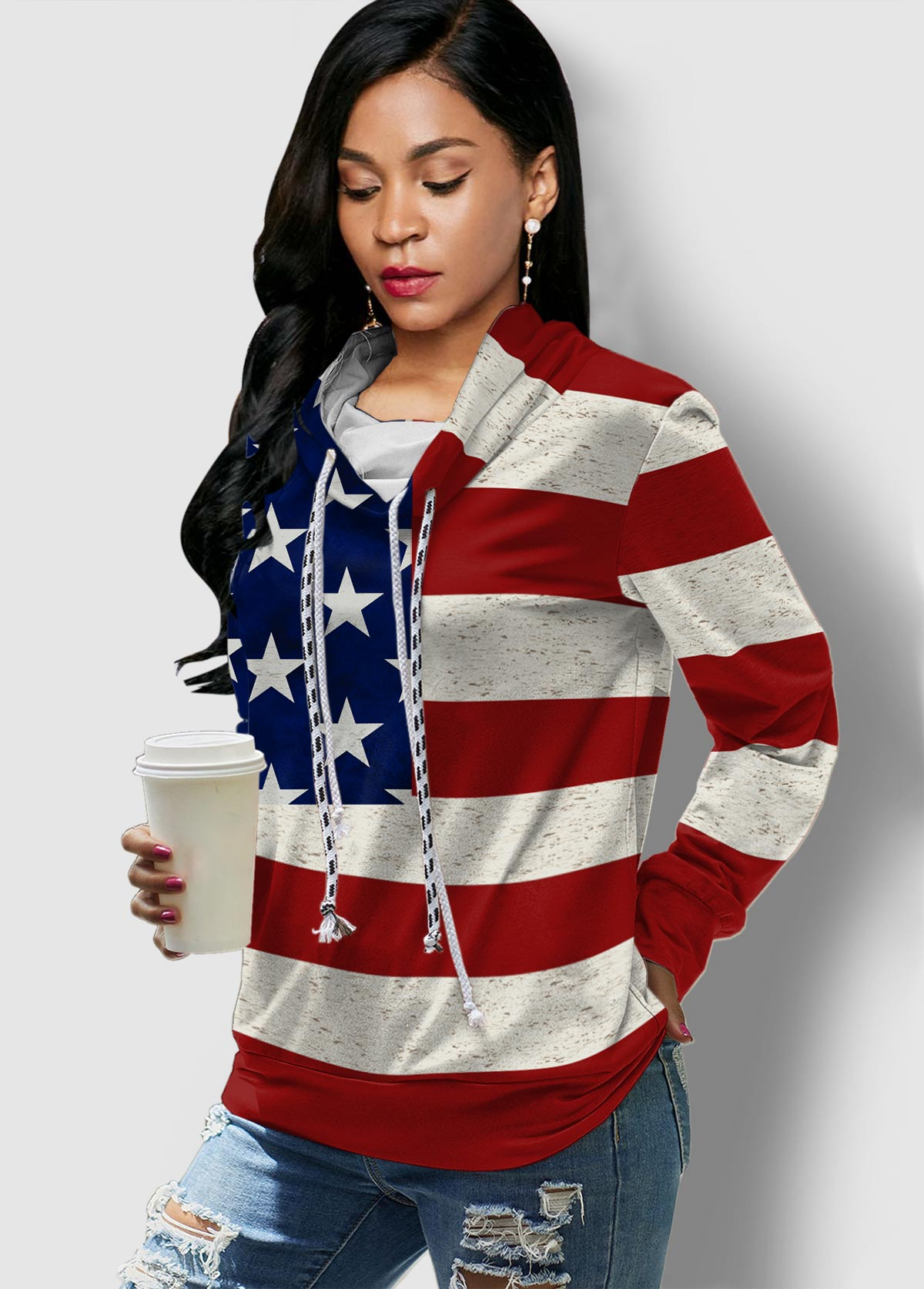 Long Sleeve American Flag Print Drawstring Sweatshirt