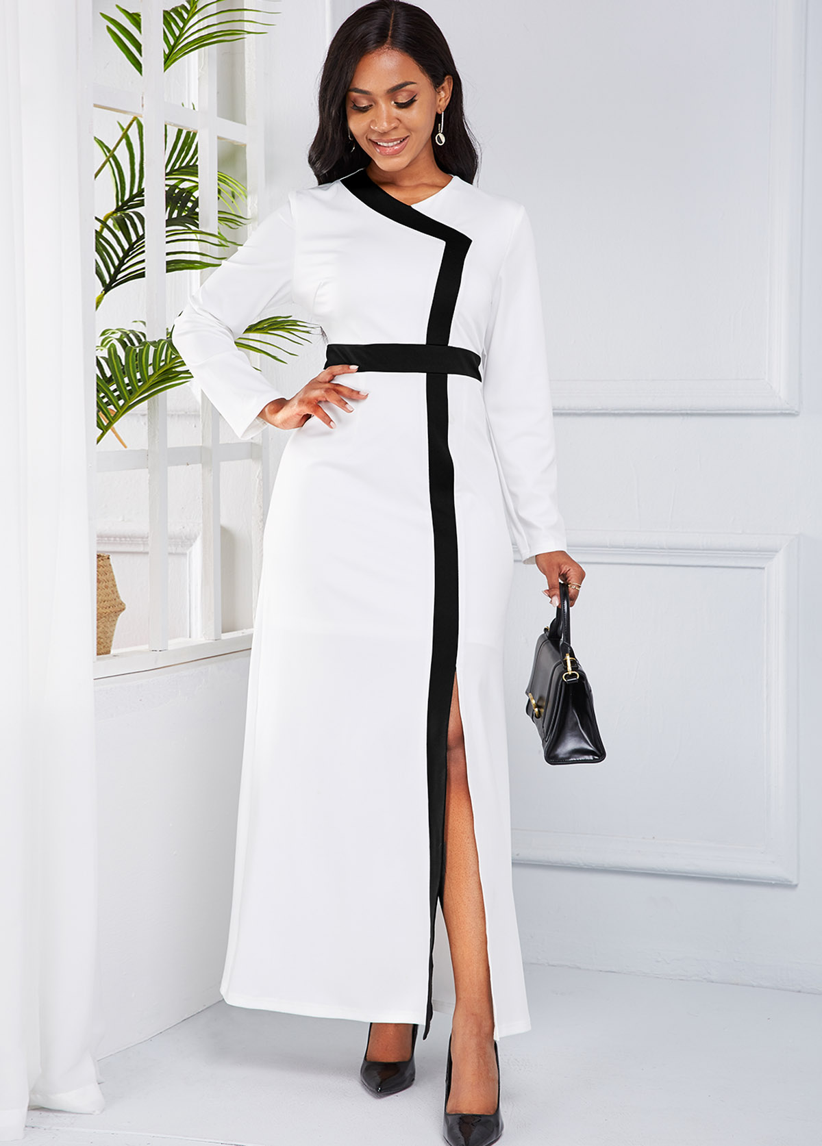 Front Slit Contrast Long Sleeve Maxi Dress