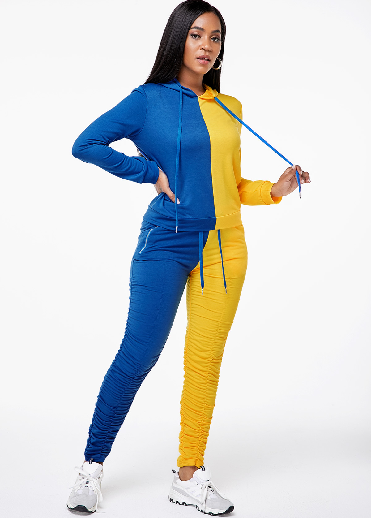 Hooded Collar Top and Color Block Pocket Pants