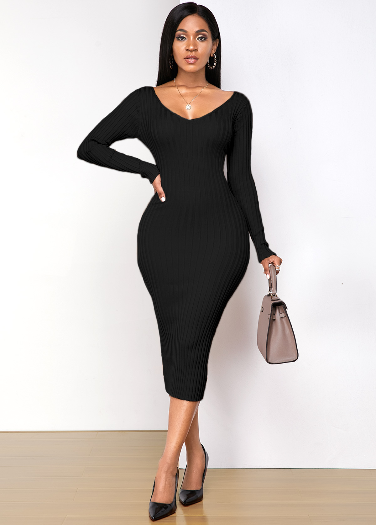 Long Sleeve Off Shoulder Sheath Dress