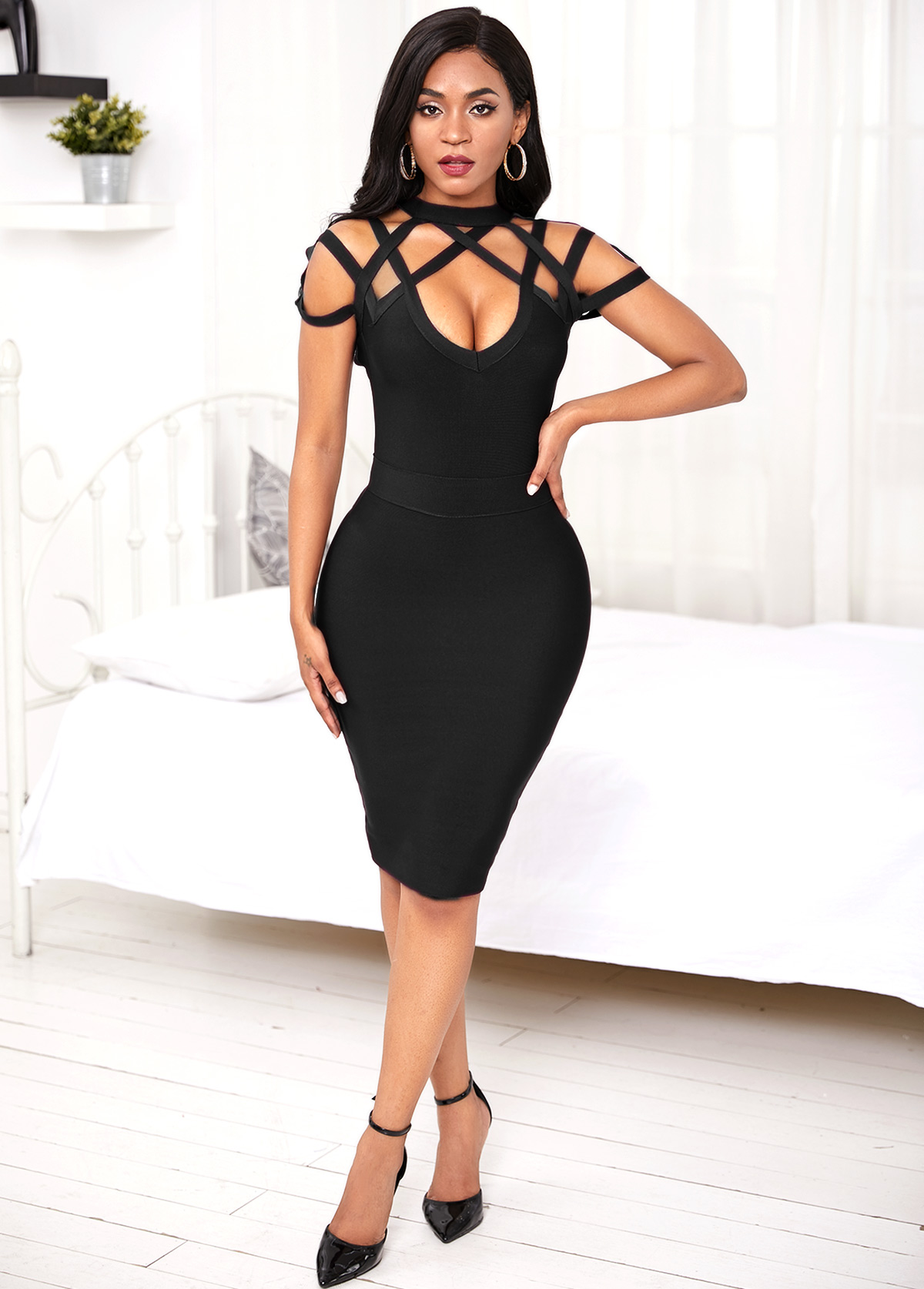 Black Lattice Yoke Sheath Dress