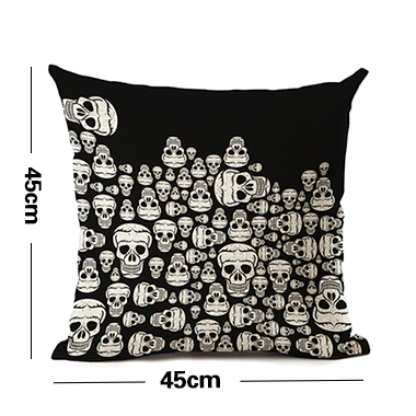 1pc Halloween Skeleton Print Black Pillow