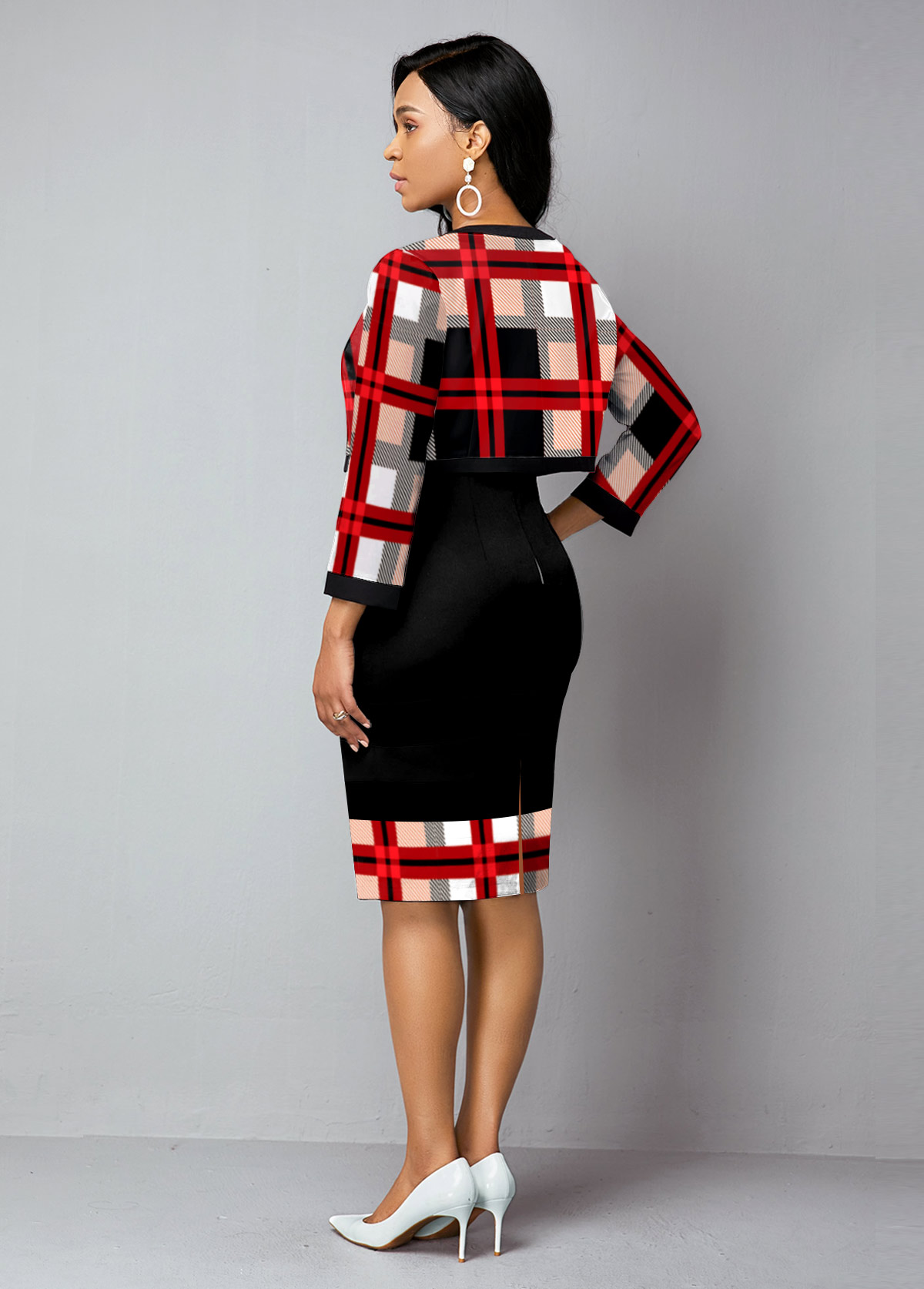 Open Front Cardigan and Plaid Print Dress