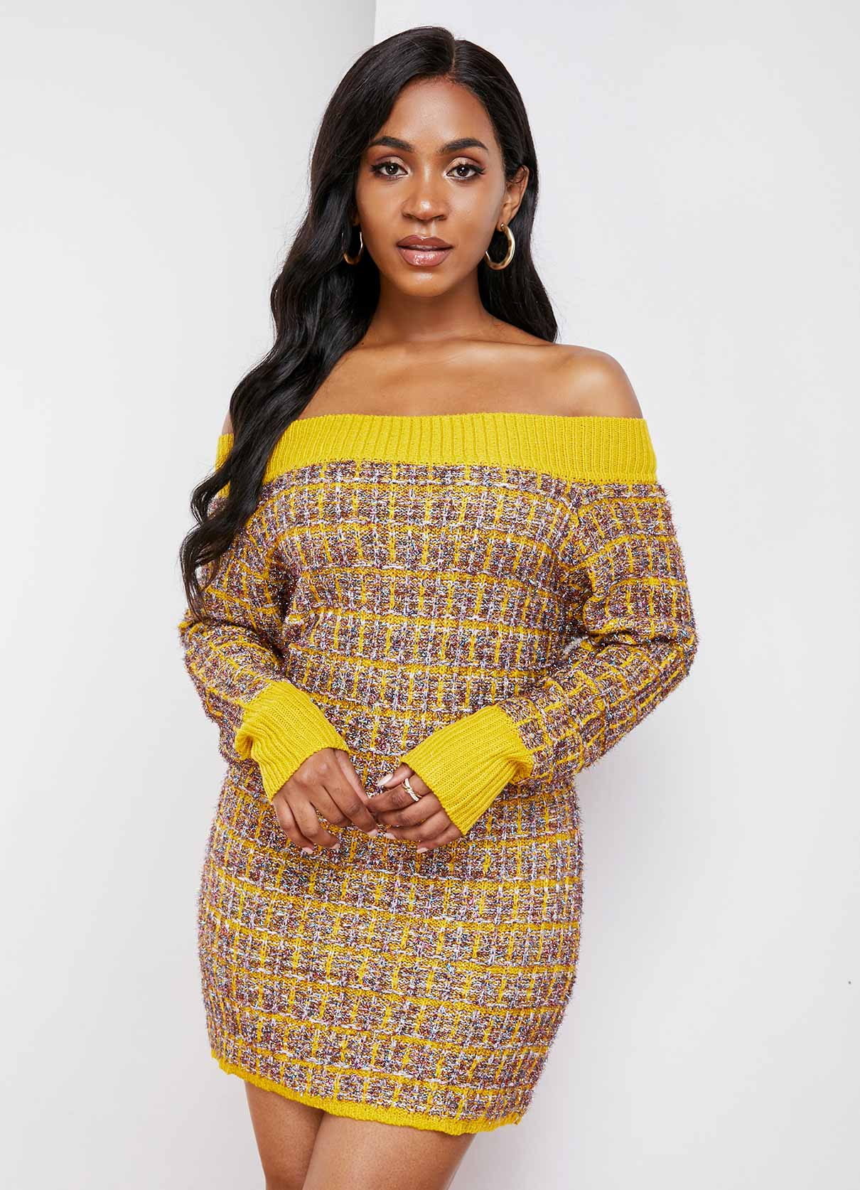 Off Shoulder Long Sleeve Contrast Sweater Dress