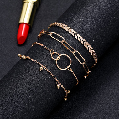 Layered Metal Chain Gold Bracelet Set
