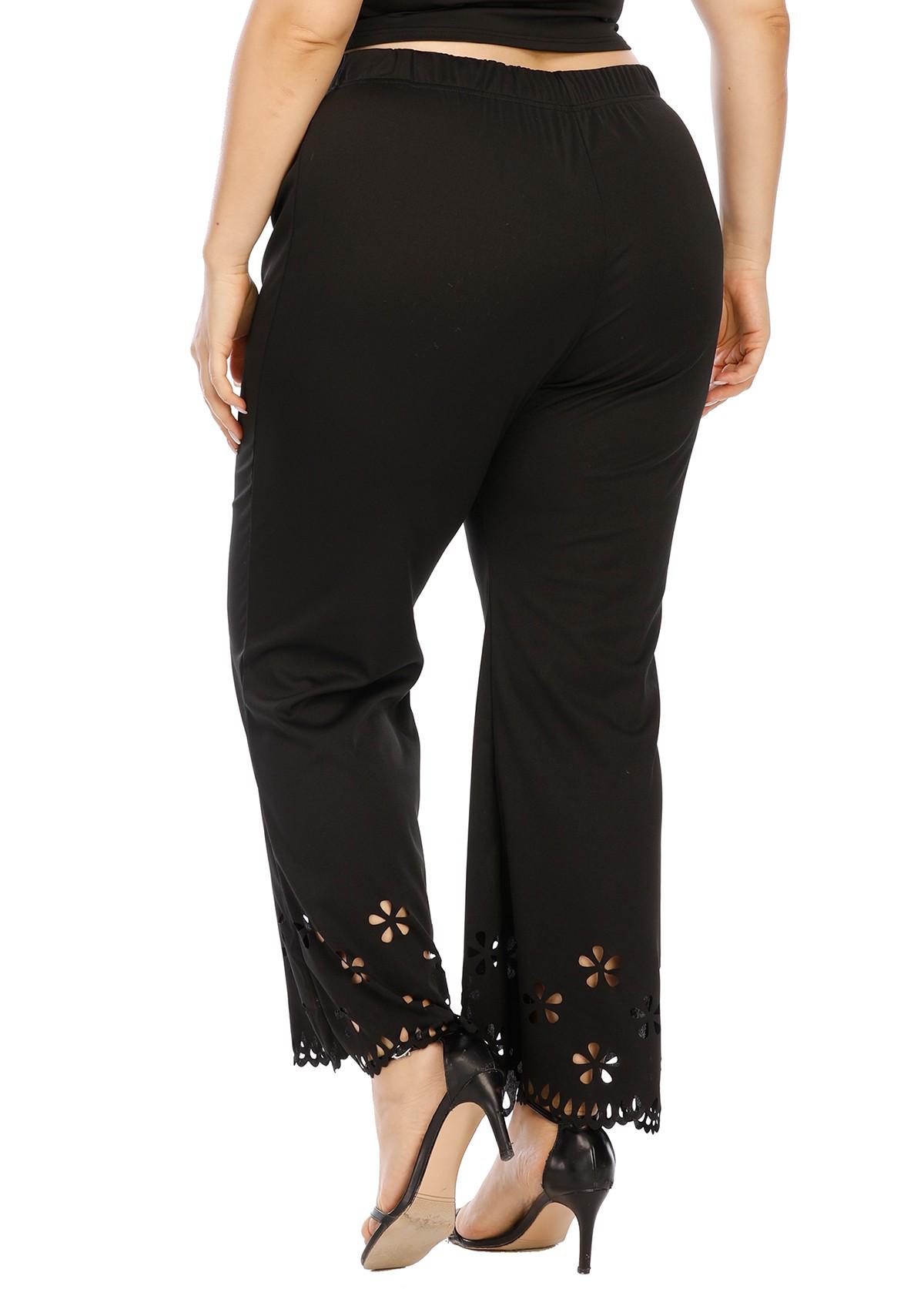 Pierced Elastic Waist Plus Size Pants