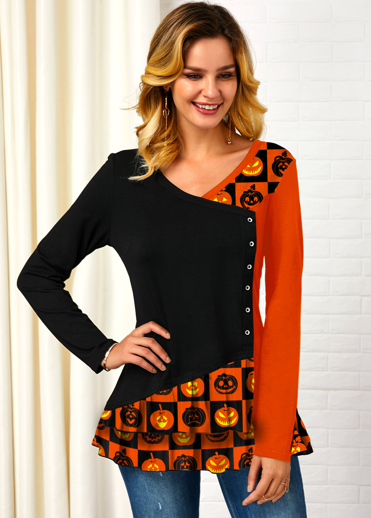 Contrast Halloween Print Long Sleeve T Shirt