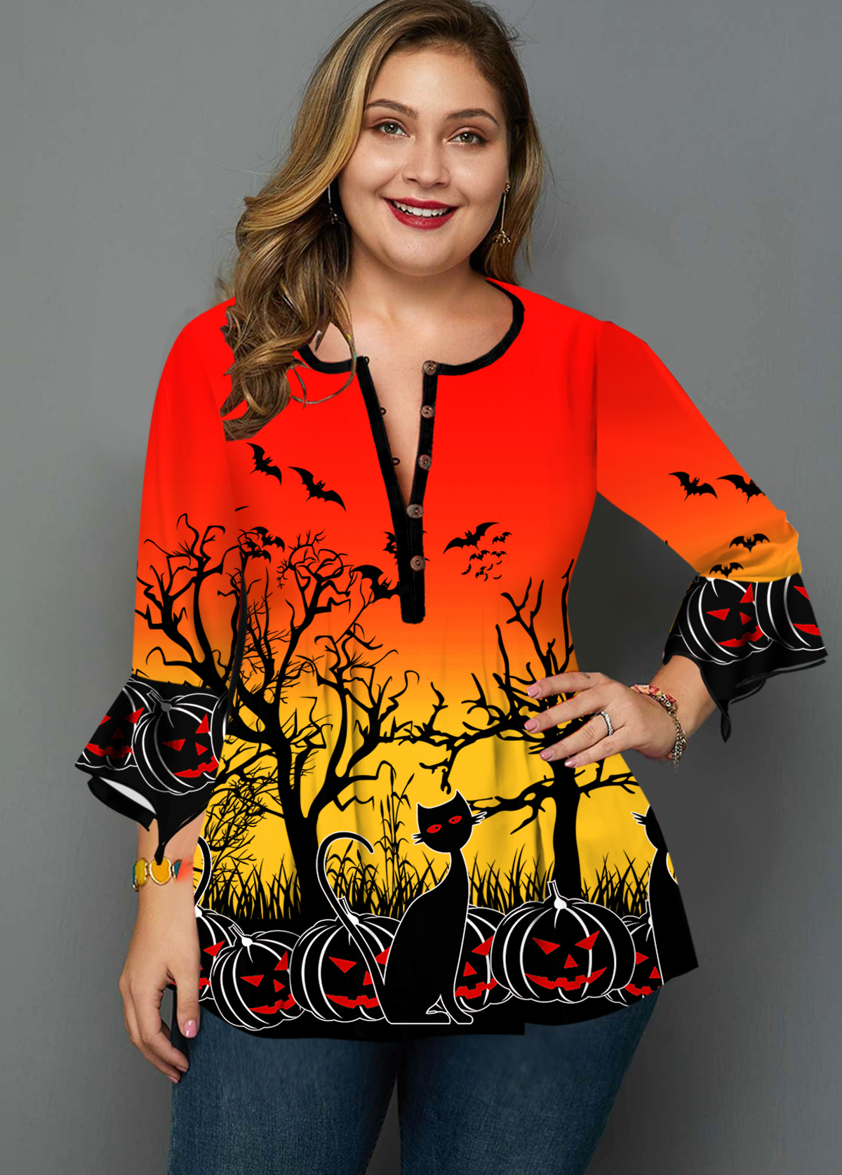 Halloween Print Hanky Cuff Plus Size Blouse