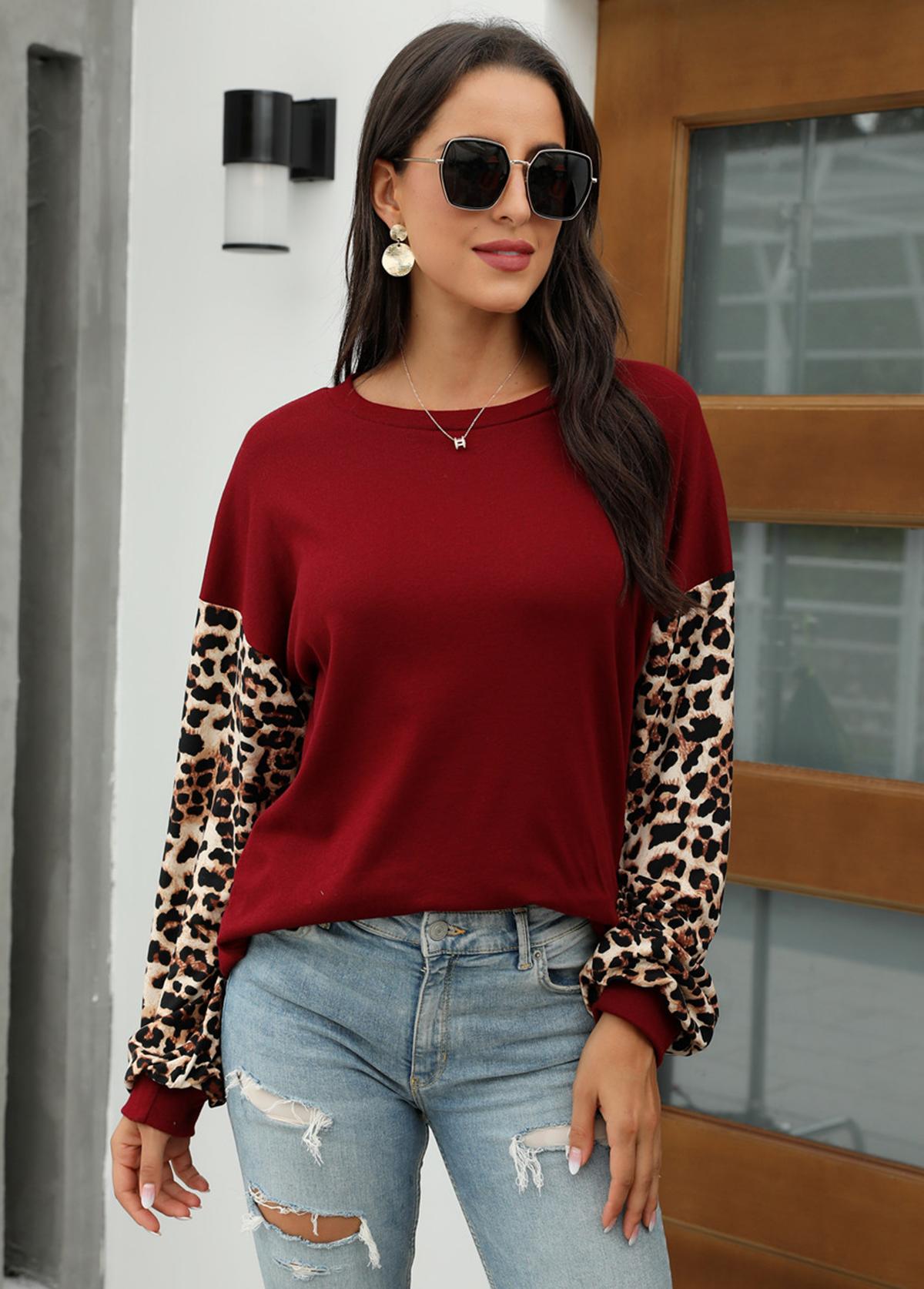 Round Neck Long Sleeve Leopard Sweatshirt