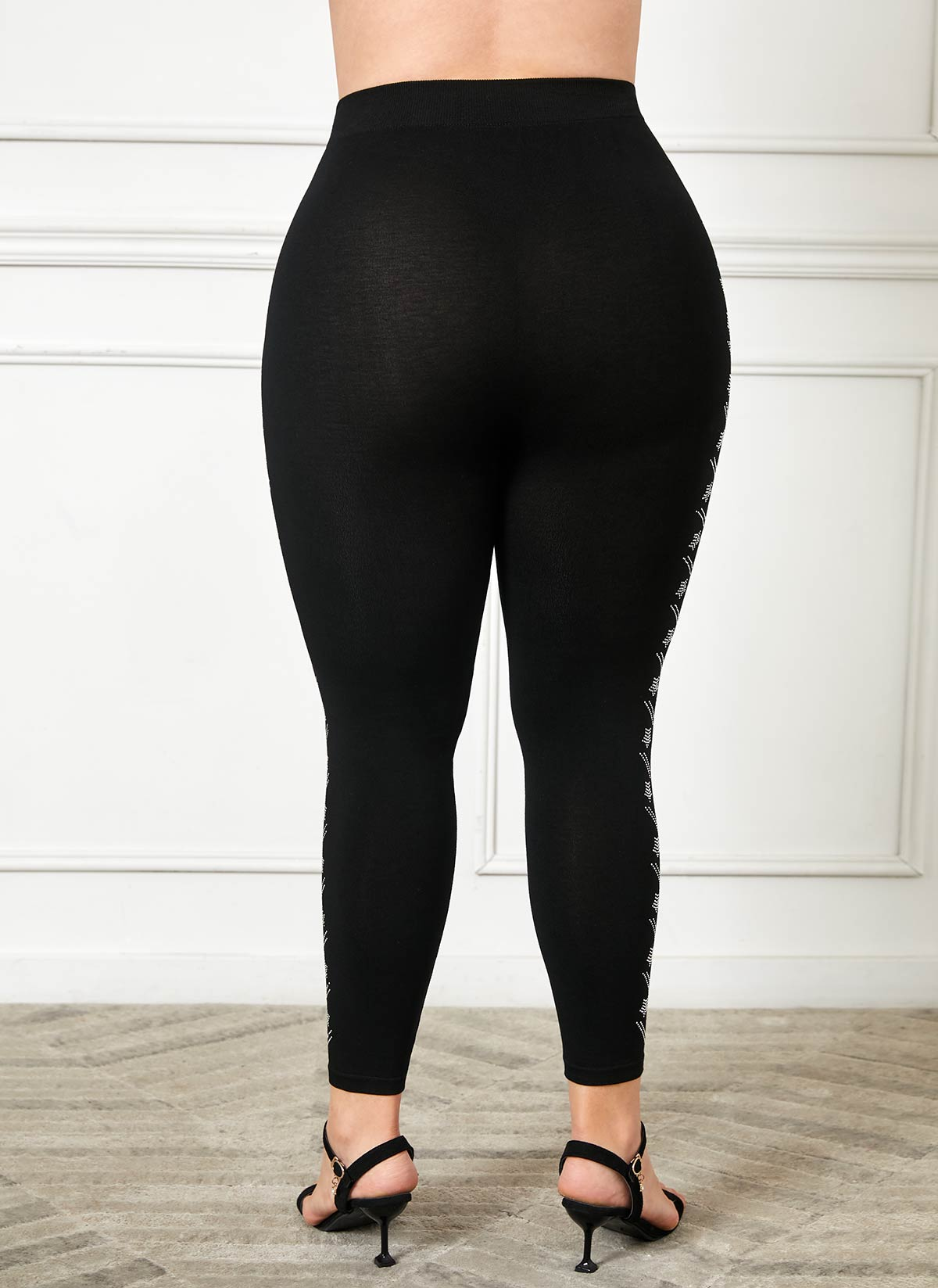Plus Size High Waist Rhinestone Legging