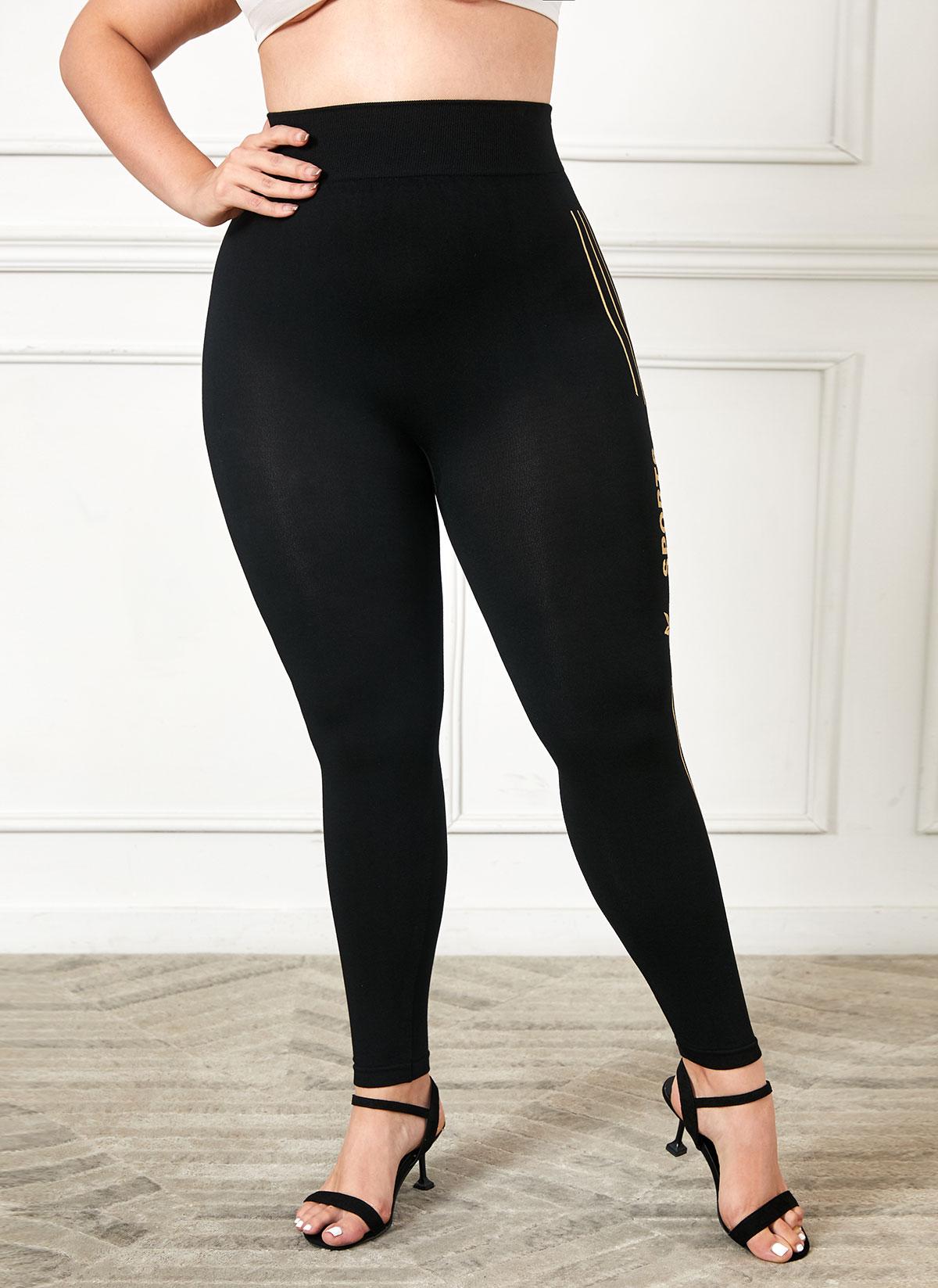 High Waist Stripe and Letter Print Plus Size Legging