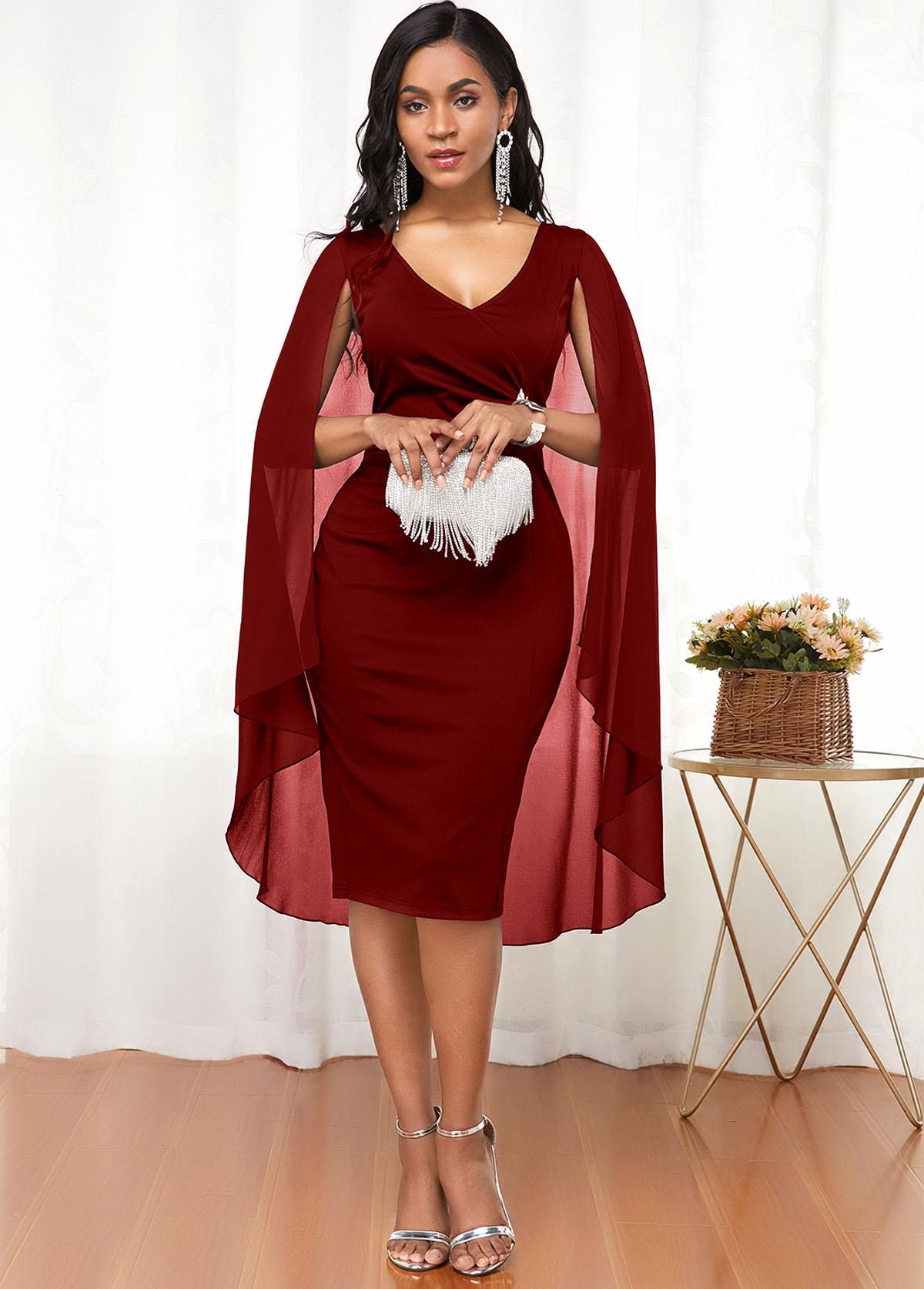 Cape Shoulder V Neck Wine Red Dress