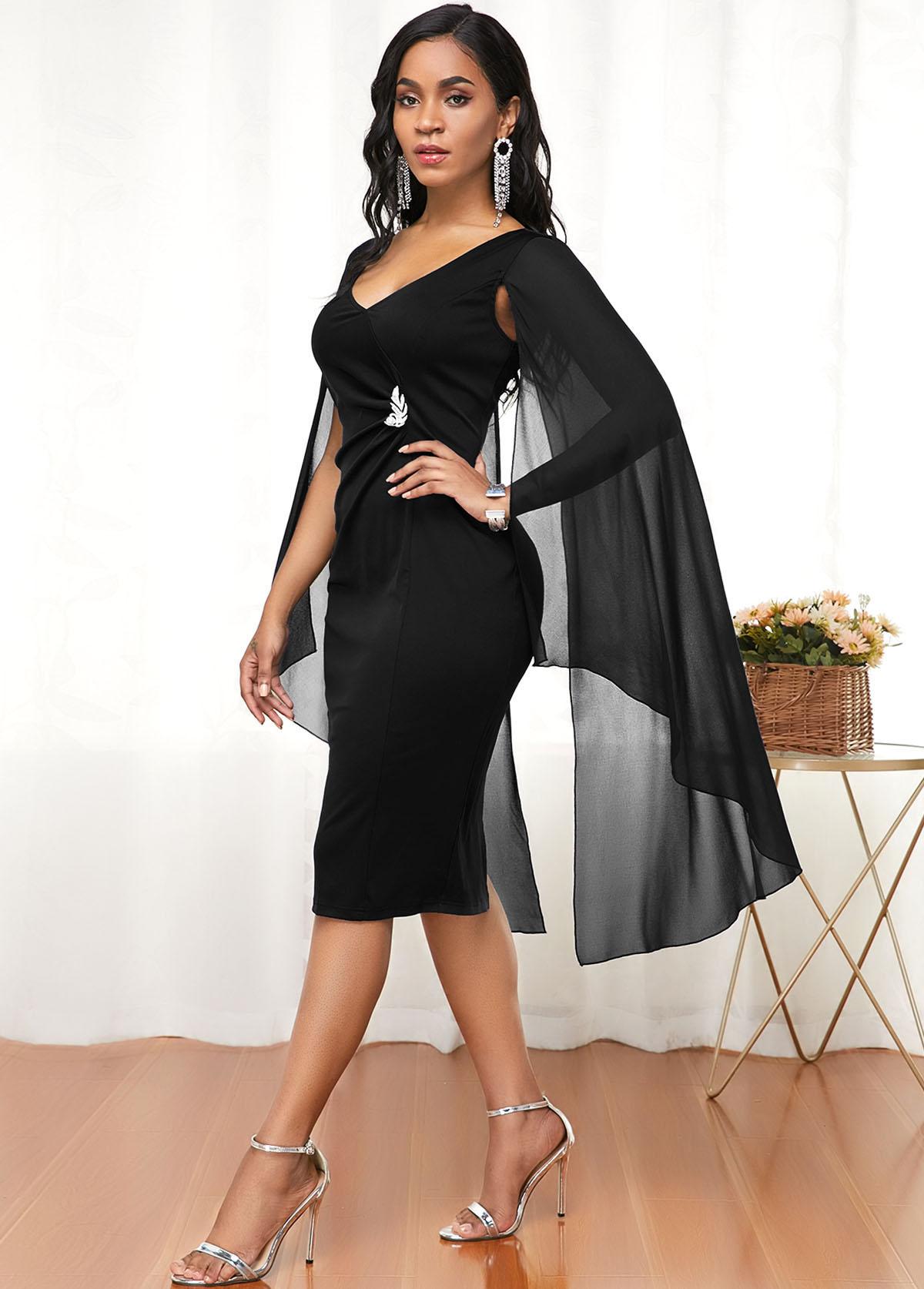 Cape Shoulder V Neck Black Dress