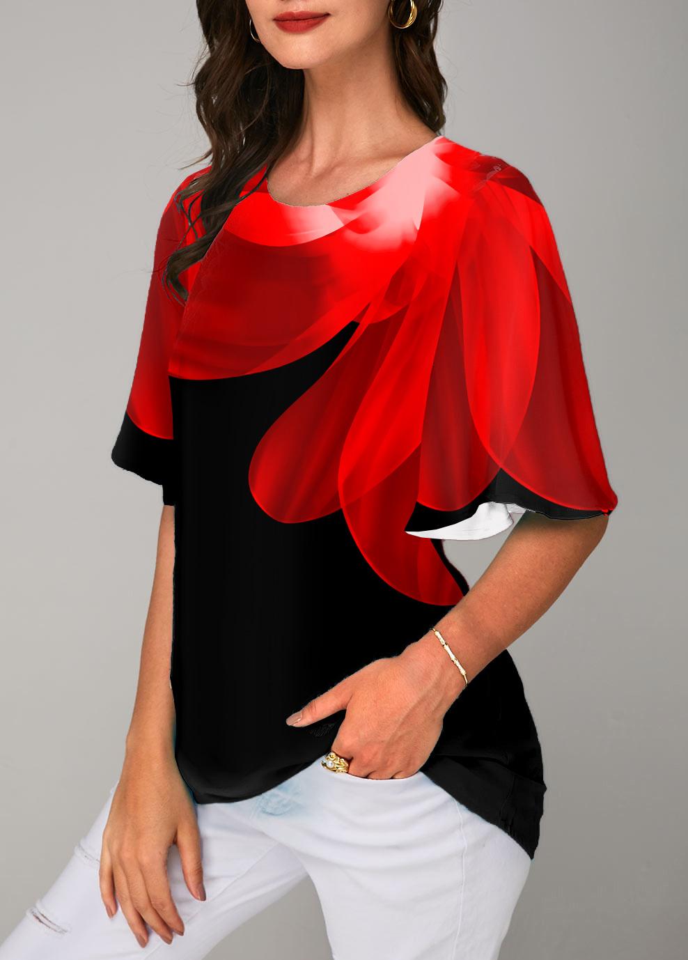 Round Neck Printed Half Sleeve T Shirt