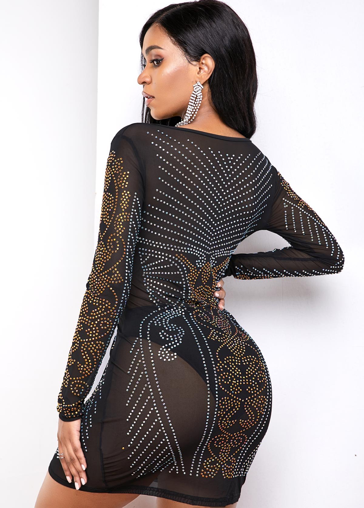 Long Sleeve Hot Drilling Plunging Neck Dress