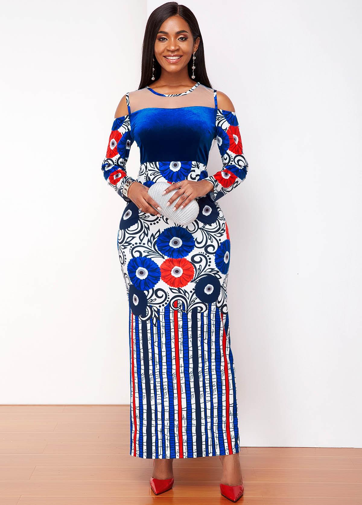 Contrast Tribal Print Cold Shoulder Maxi Dress