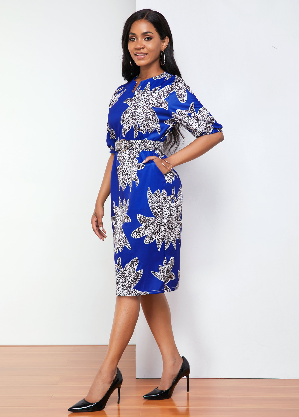 Split Neck Half Sleeve Printed Dress