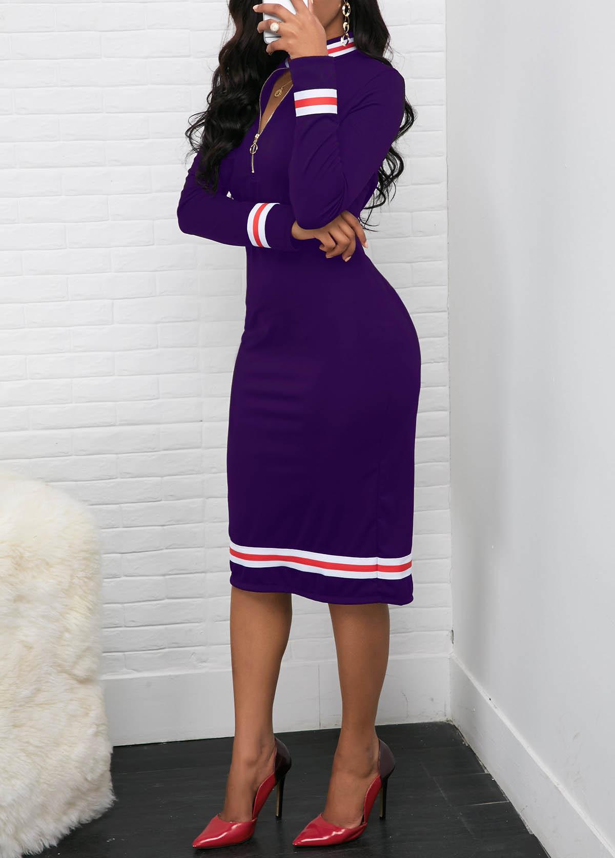 Quarter Zip Long Sleeve Contrast Striped Dress