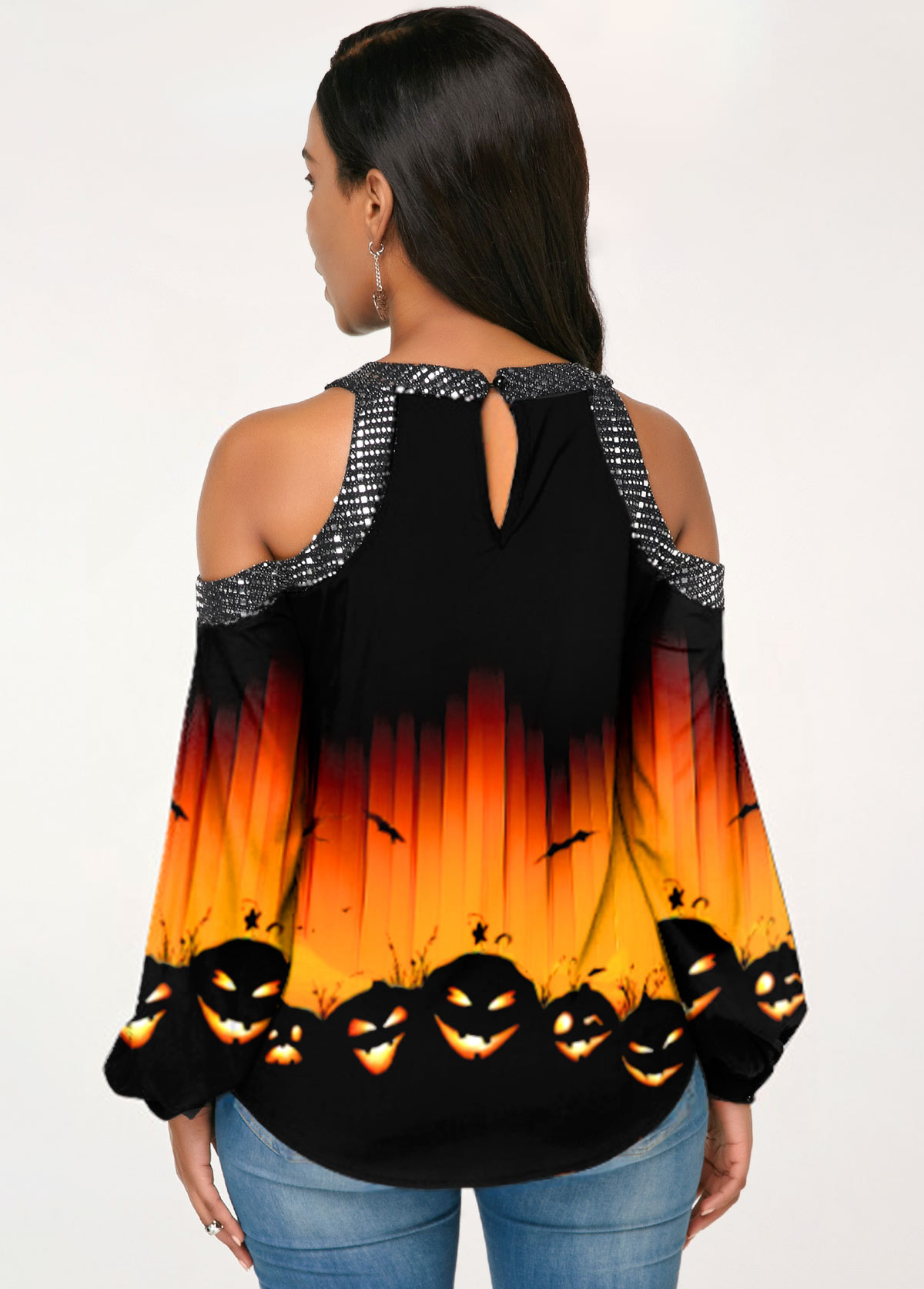 Ombre Halloween Pumpkin Print Cold Shoulder T Shirt