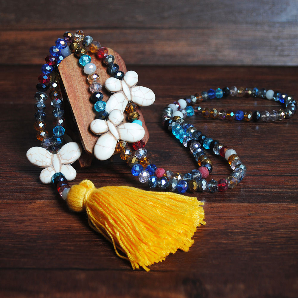 Yellow Tassel Butterfly Design Bead Necklace