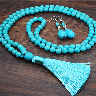 Tassel Detail Turquoise Necklace and Earring Set