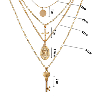 Cross Pendant Layered Gold Metal Necklace