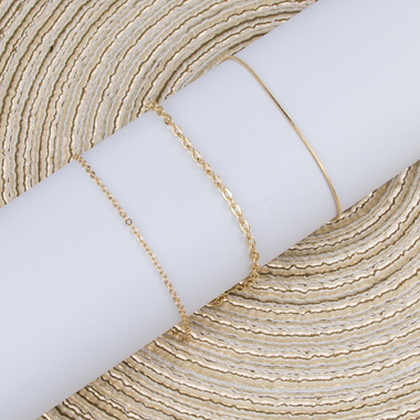 Metal Chain Gold Anklet Set for Women
