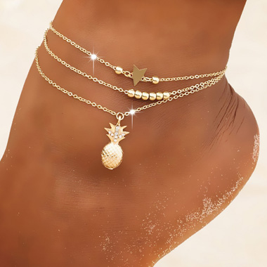 Pineapple and Star Metal Anklet Set
