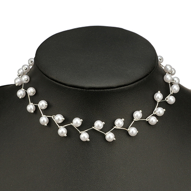 Silver Metal Pearl Detail Necklace for Women