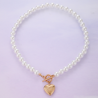 Silver Heart Pendant Pearl Detail Necklace