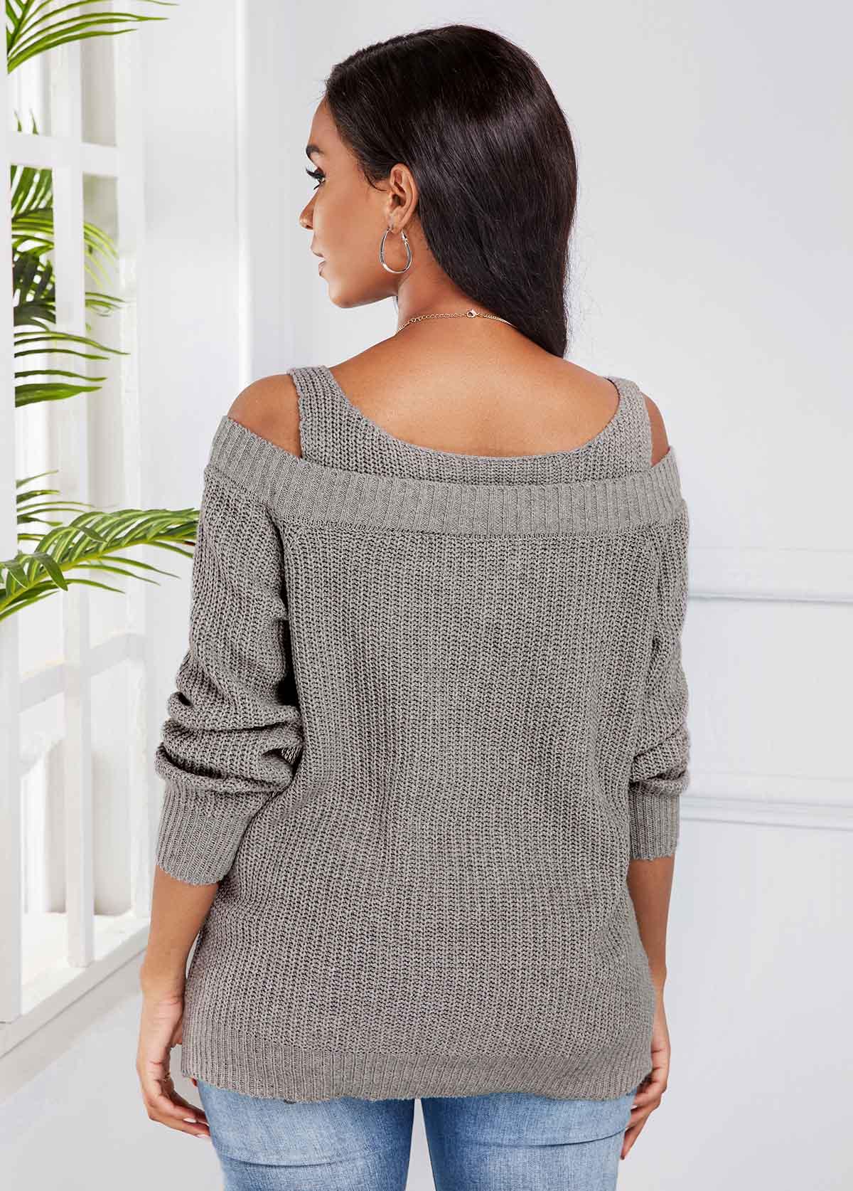 Light Grey Cold Shoulder Long Sleeve Sweater