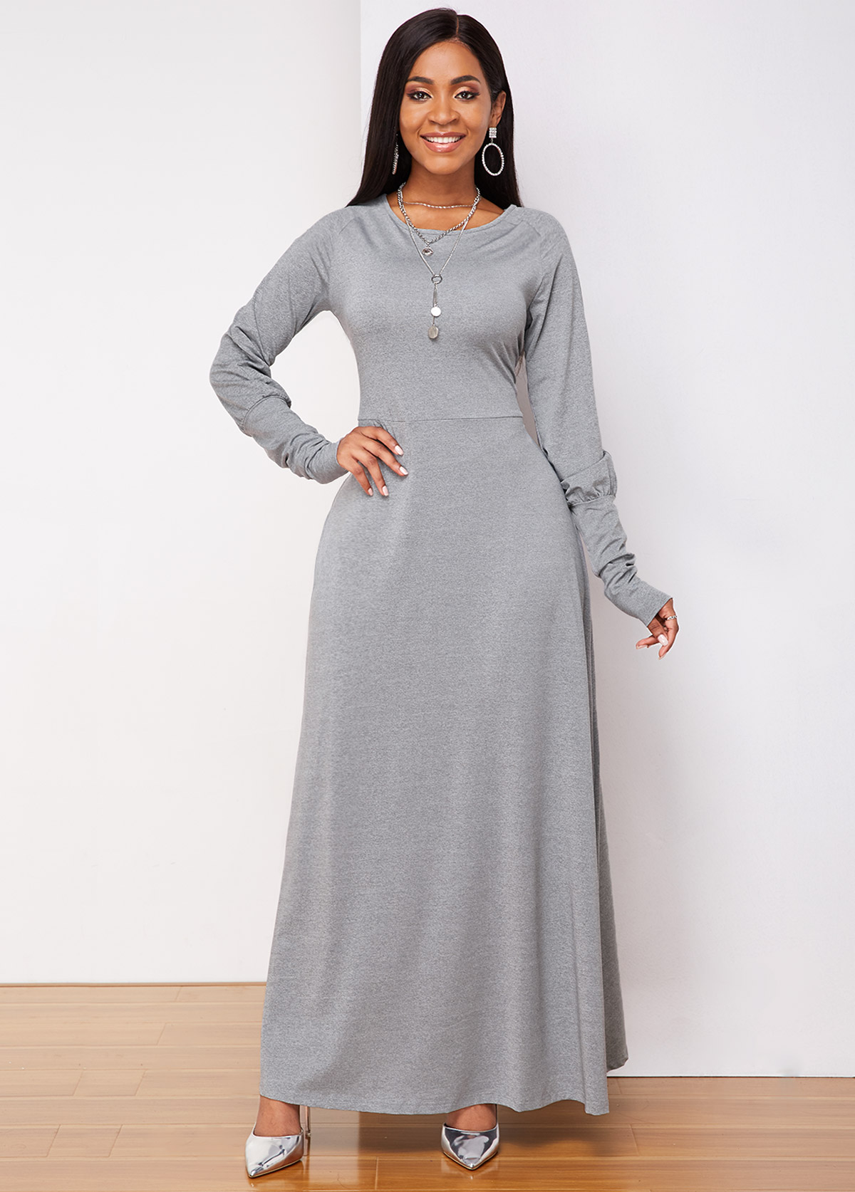 Light Grey Lantern Sleeve Round Neck Maxi Dress