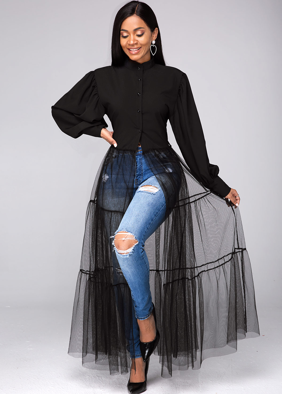 Button Up Lantern Sleeve Mesh Contrast Blouse