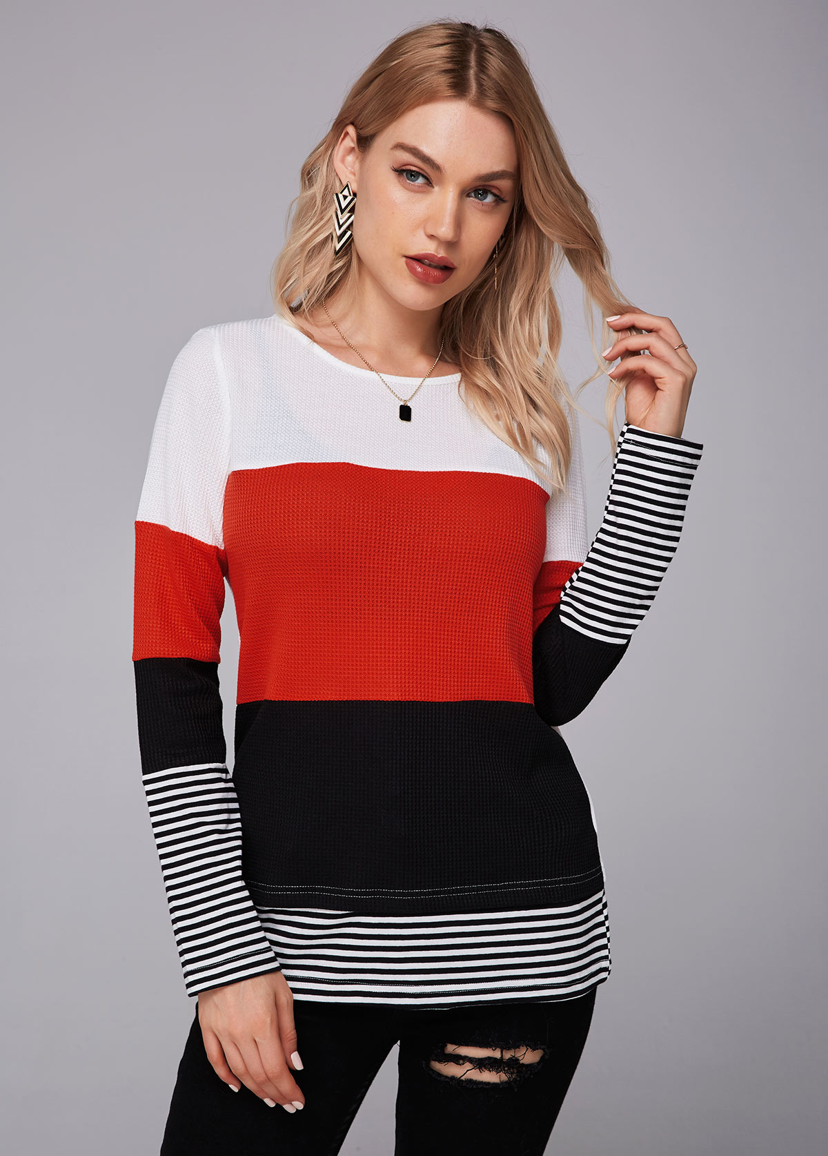 Color Block Long Sleeve Round Neck T Shirt