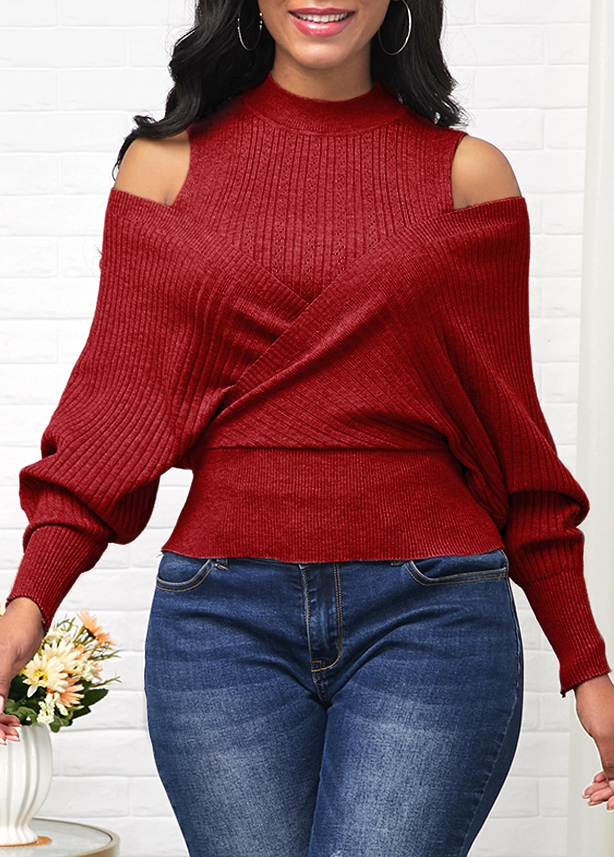 Cold Shoulder Long Sleeve Wine Red Sweater