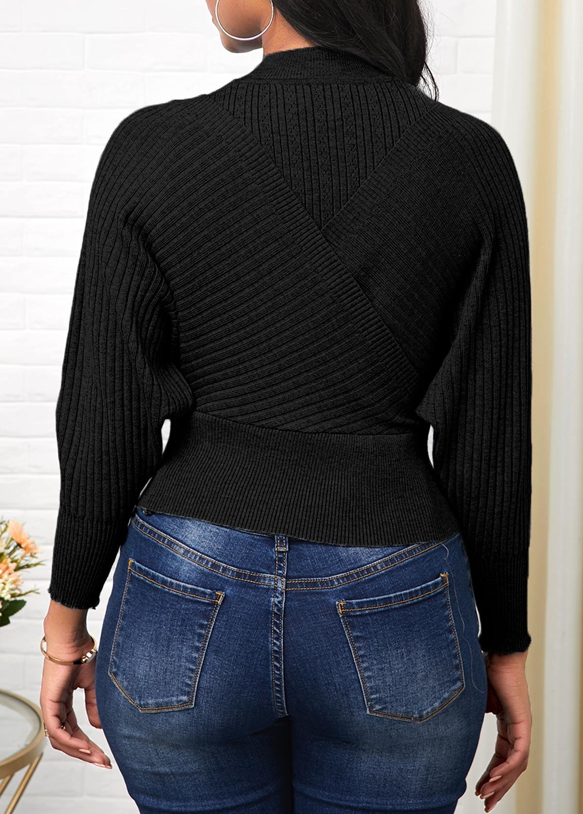 Long Sleeve Cold Shoulder Black Sweater