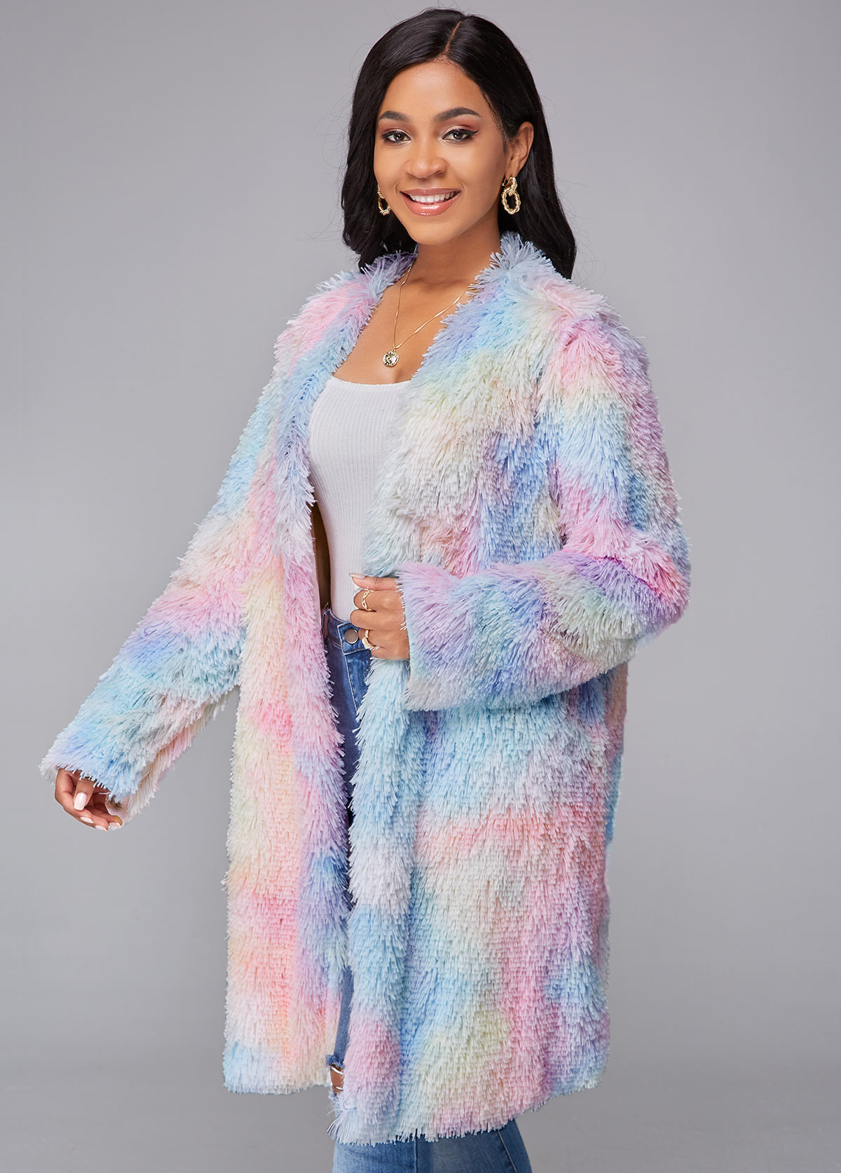 Open Front Rainbow Color Tie Dye Print Coat
