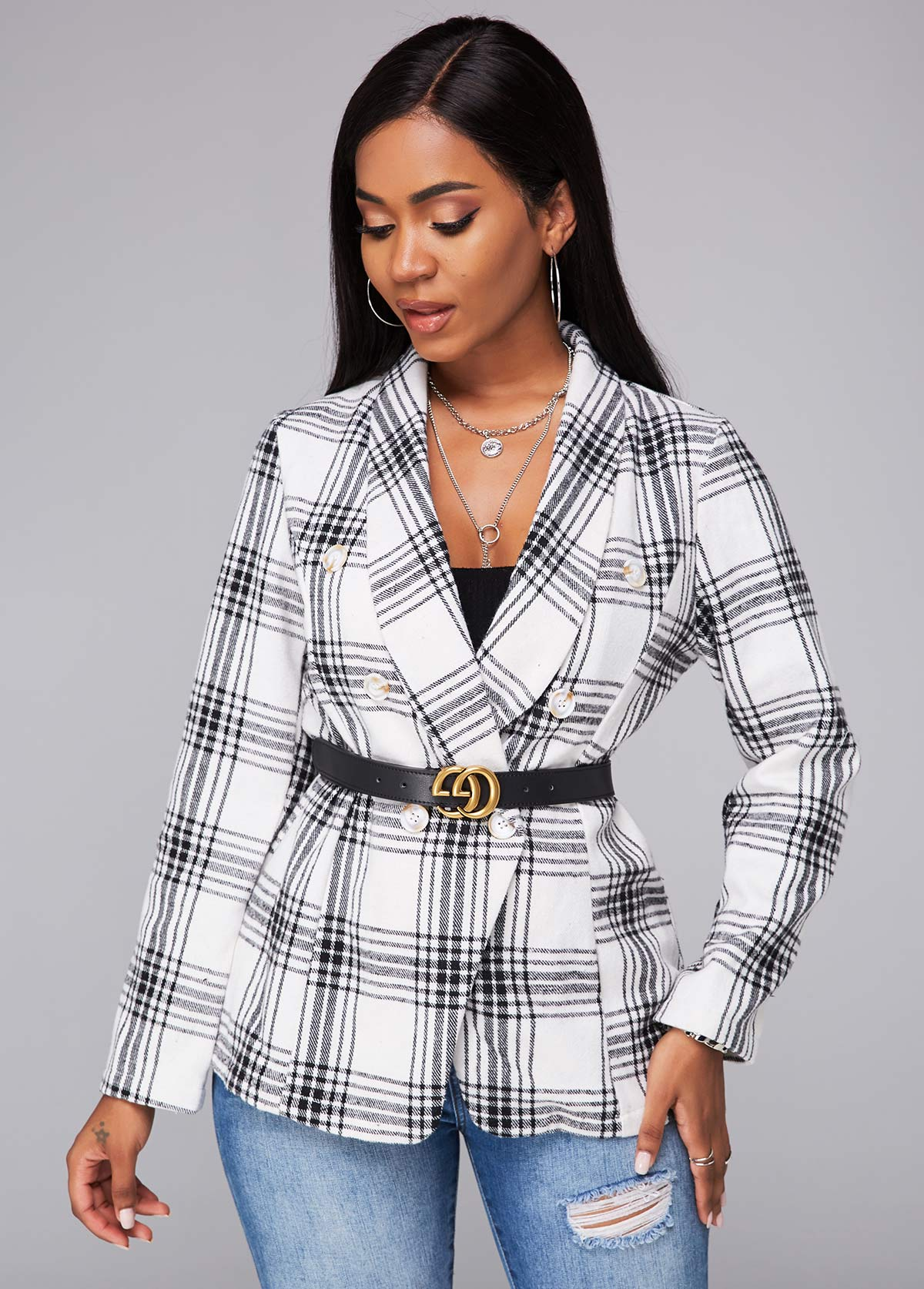 Turndown Collar Double Breasted Plaid Blazer