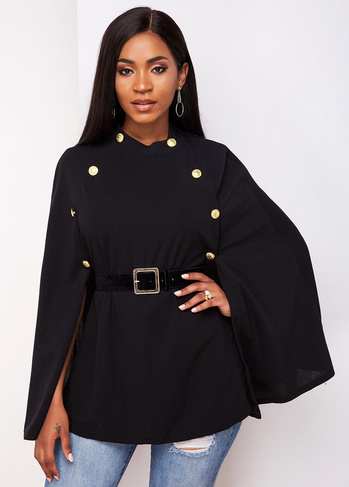 Button Detail Buckle Belted Cape Sleeve Trench Coat